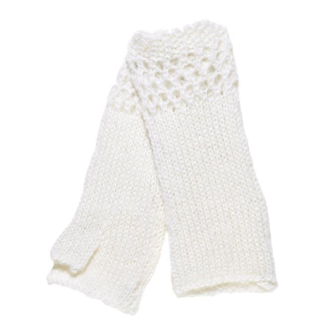 Pletené rukavice bez prstů bata, bílá, 909-1380 - 13