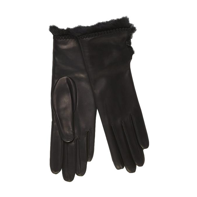 Dámské kožené rukavice s kožešinkou junek, černá, 924-6019 - 13