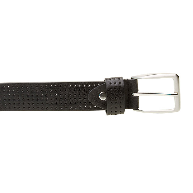Kožený opasek s perforací bata, černá, 954-6232 - 26