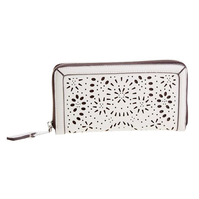 Dámská peněženka s perforací bata, bílá, 941-1131 - 26