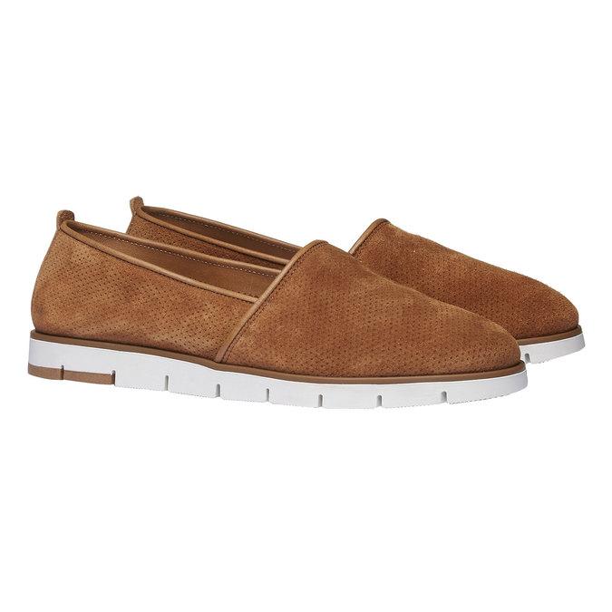 Kožené Slip-on boty s perforací flexible, hnědá, 513-3200 - 26