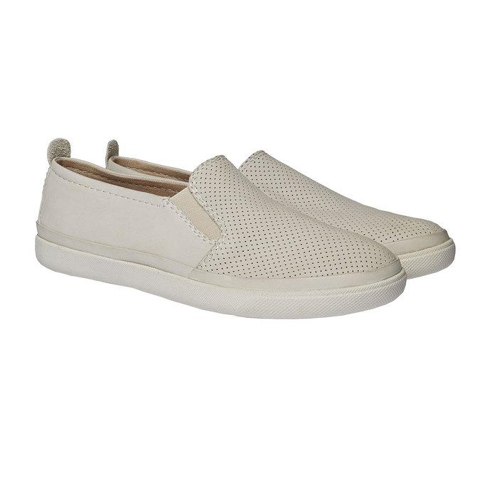 Kožené Plim Soll boty s perforací bata, bílá, 514-1197 - 26