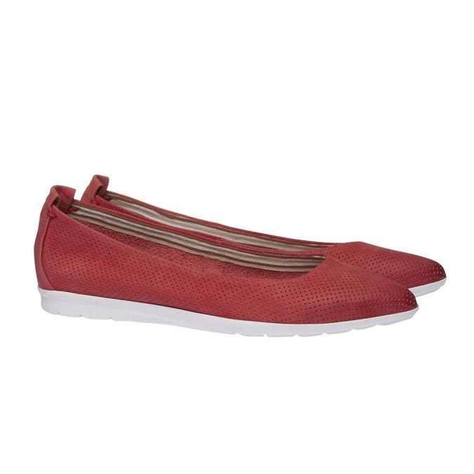 Kožené baleríny s perforací bata, červená, 526-5486 - 26