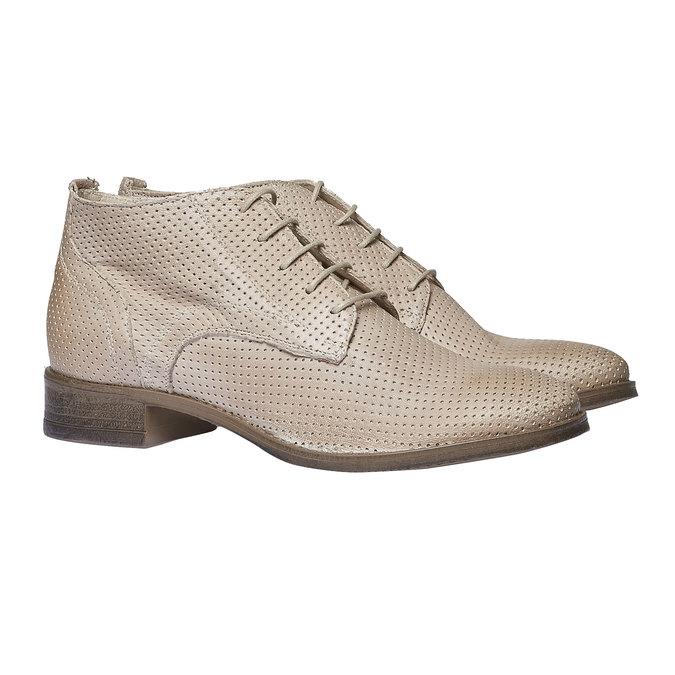 Dámské kožené kotníčkové boty bata, béžová, 524-8468 - 26
