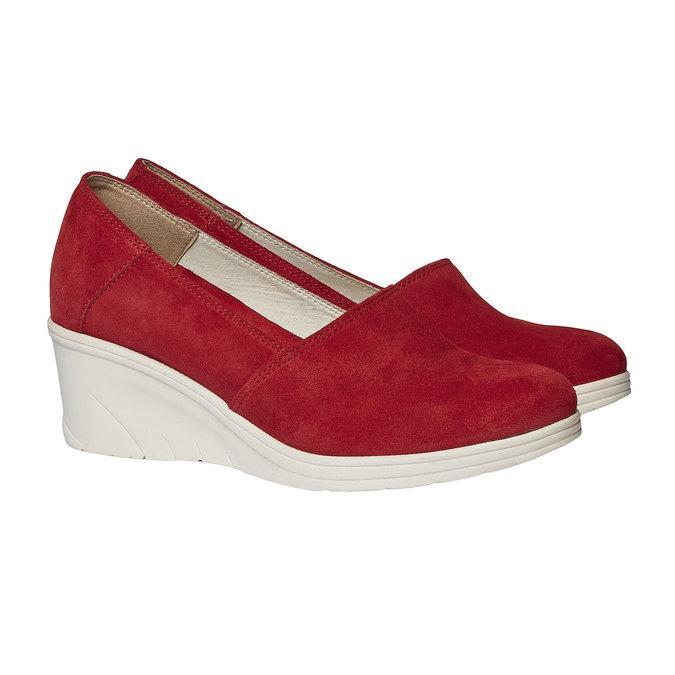 Kožené lodičky na klínovém podpatku bata-touch-me, červená, 613-5110 - 26