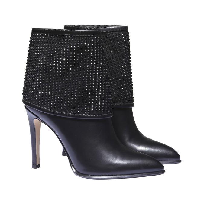 Kozačky na stiletto podpatku se štrasem bata, černá, 721-6587 - 26