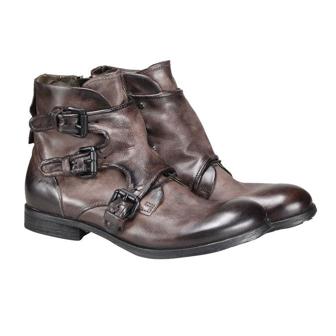 Kožená kotníčková obuv a-s-98, hnědá, 896-4009 - 26