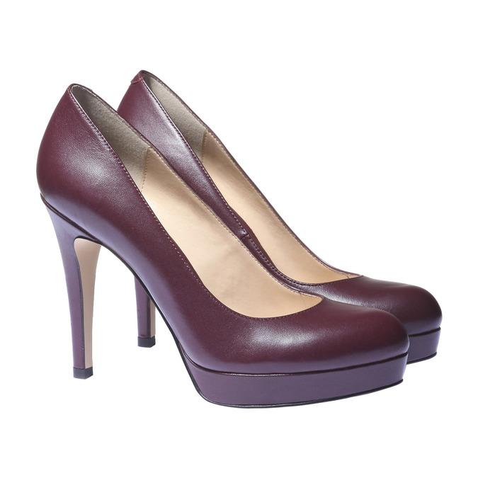 Kožené lodičky na vysokém podpatku bata, fialová, 724-5794 - 26