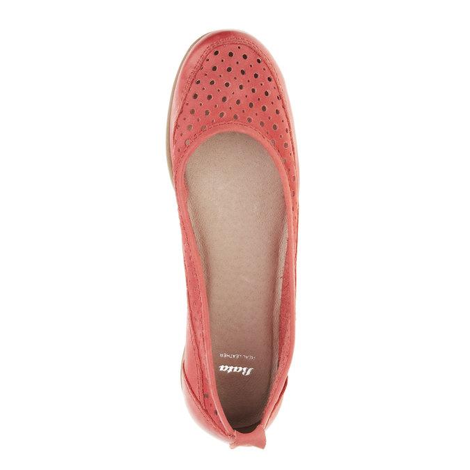 Červené kožené baleríny bata, červená, 526-5496 - 19