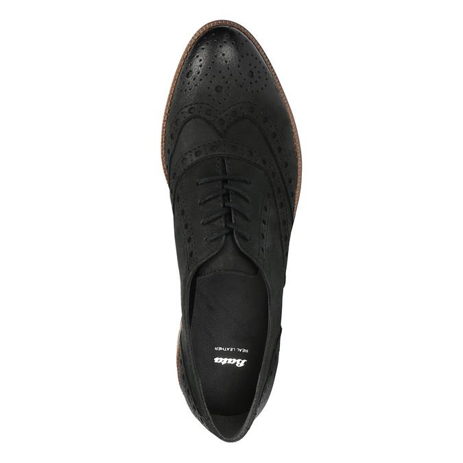 Dámské kožené polobotky bata, černá, 526-6600 - 19