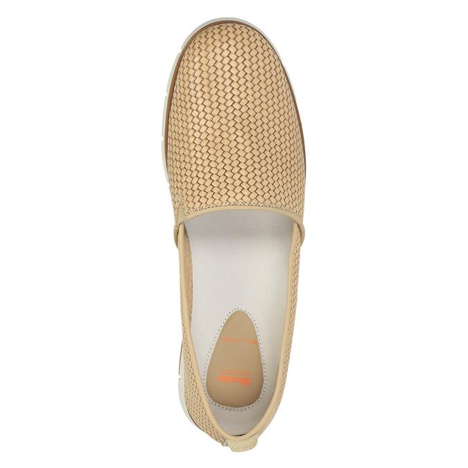 Dámské kožené Slip-On flexible, béžová, 515-8203 - 19