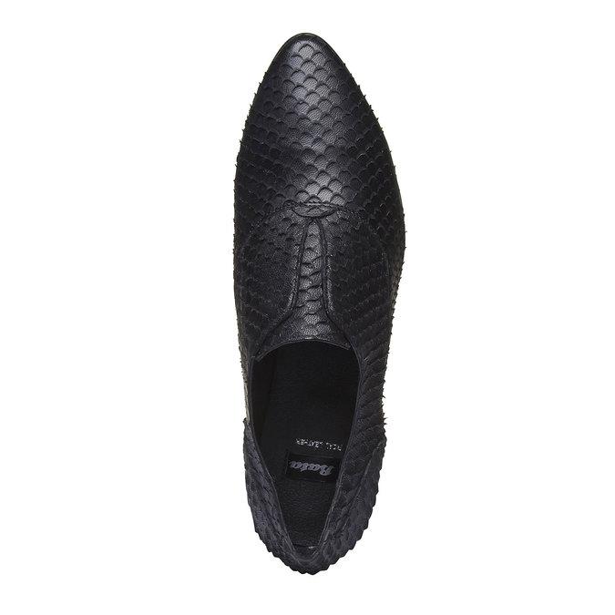 Dámské kožené polobotky bata, černá, 514-6212 - 19