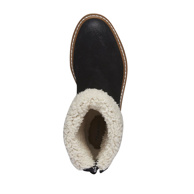 Kožené kotníkové kozačky s kožíškem bata, černá, 593-6100 - 19