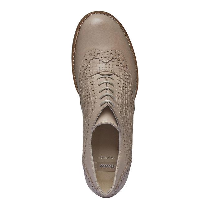 Kožené polobotky na podpatku bata, béžová, 624-8386 - 19