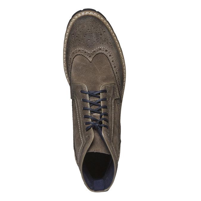 Semišová kotníčková obuv bata, hnědá, 893-2372 - 19