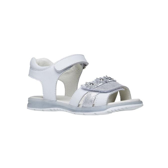 Bílé kožené sandály mini-b, bílá, 264-1163 - 13