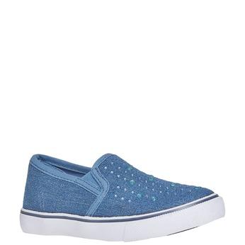 Dívčí Slip on boty s kamínky mini-b, modrá, 229-9148 - 13