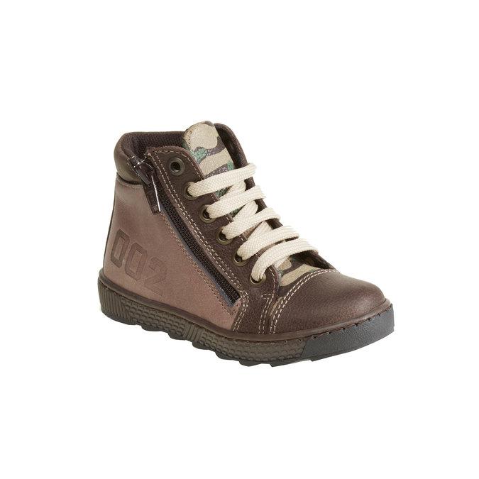 Kožené chlapecké kotníkové boty mini-b, hnědá, 114-4135 - 13