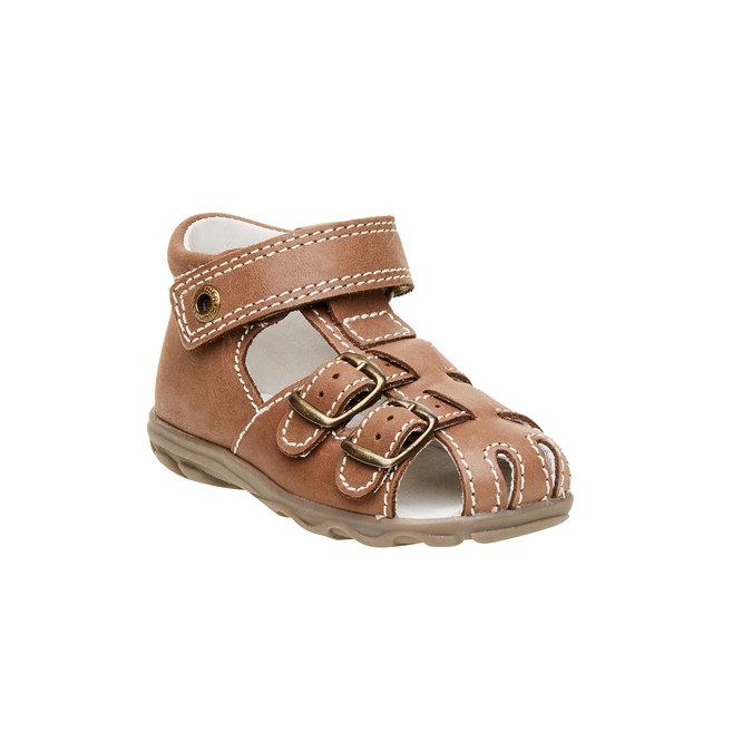 Dětské kožené sandály richter, hnědá, 164-4001 - 13