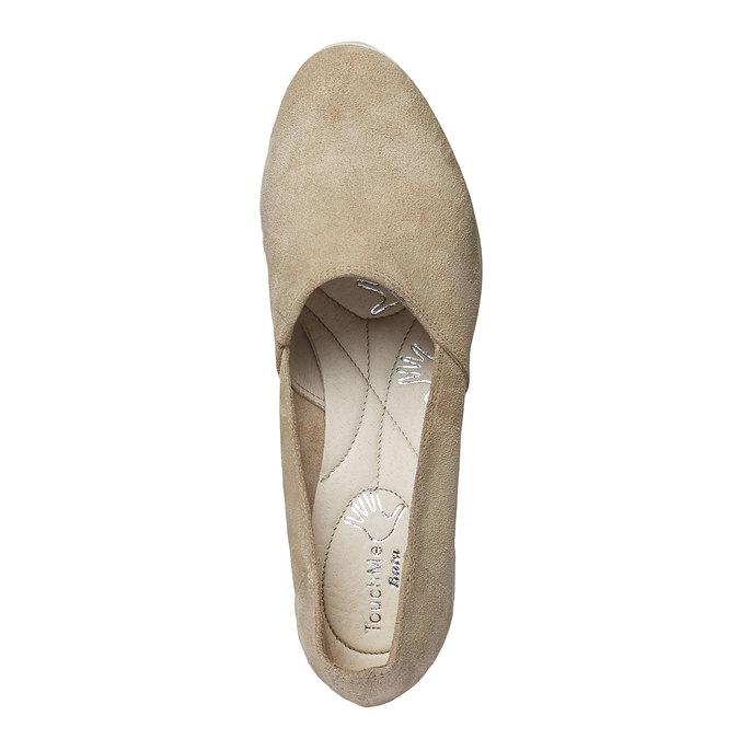 Kožené lodičky na klínovém podpatku bata-touch-me, béžová, 613-8110 - 19