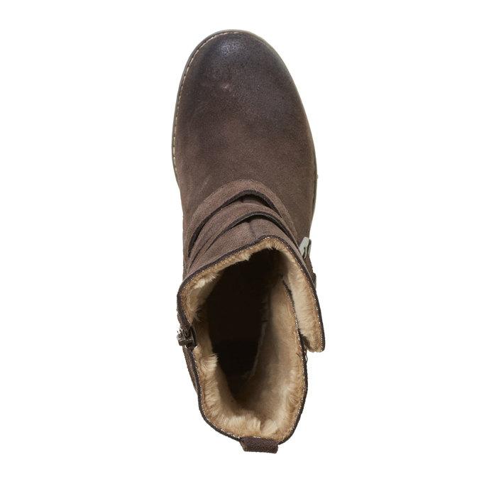 Kožené kozačky s přezkami bata, hnědá, 693-4100 - 19