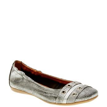 Dámské kožené baleríny bata, stříbrná, 526-1100 - 13