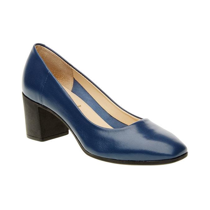 Dámské kožené lodičky na stabilním podpatku flexible, modrá, 624-9706 - 13