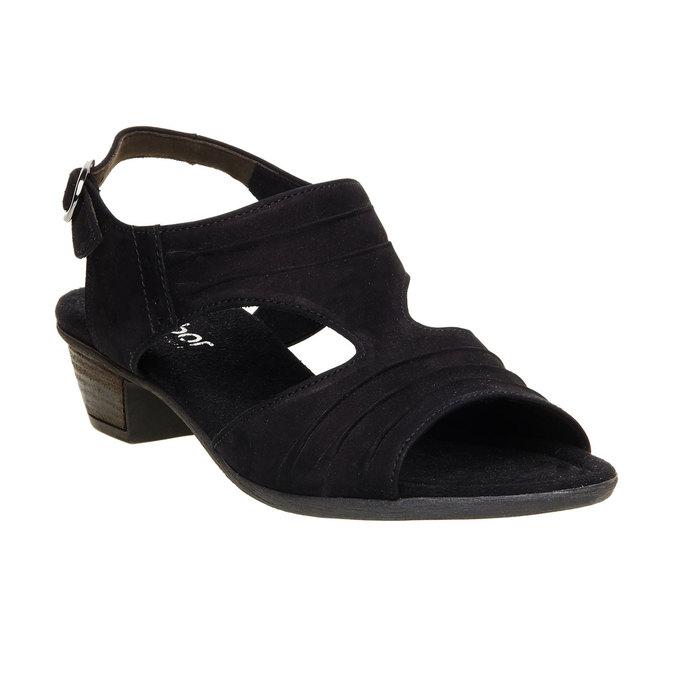 Kožené sandály na nízkém podpatku gabor, černá, 666-6100 - 13