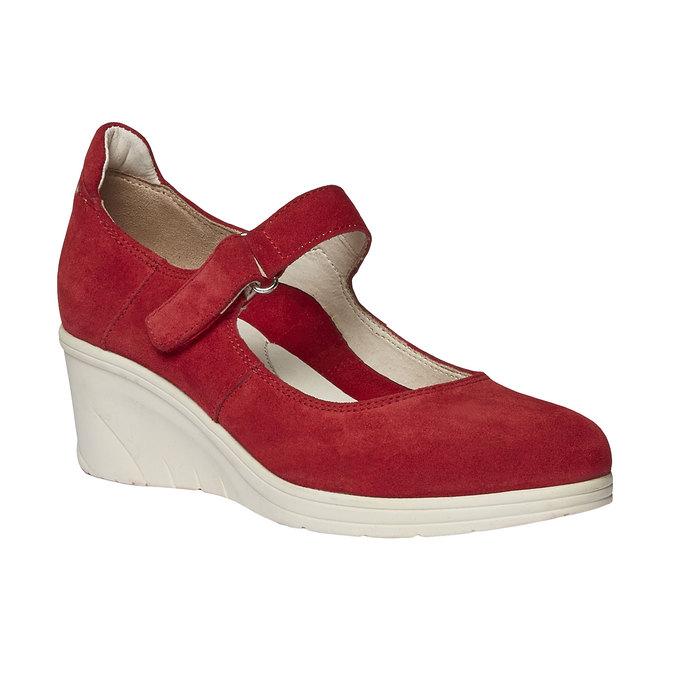 Kožené lodičky na klínovém podpatku bata-touch-me, červená, 623-5392 - 13