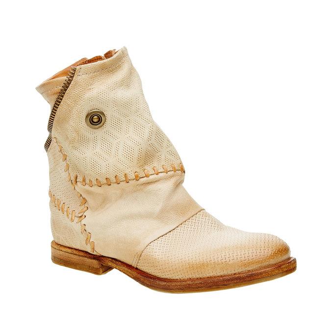 Kožené kotníkové boty a-s-98, béžová, 596-8006 - 13