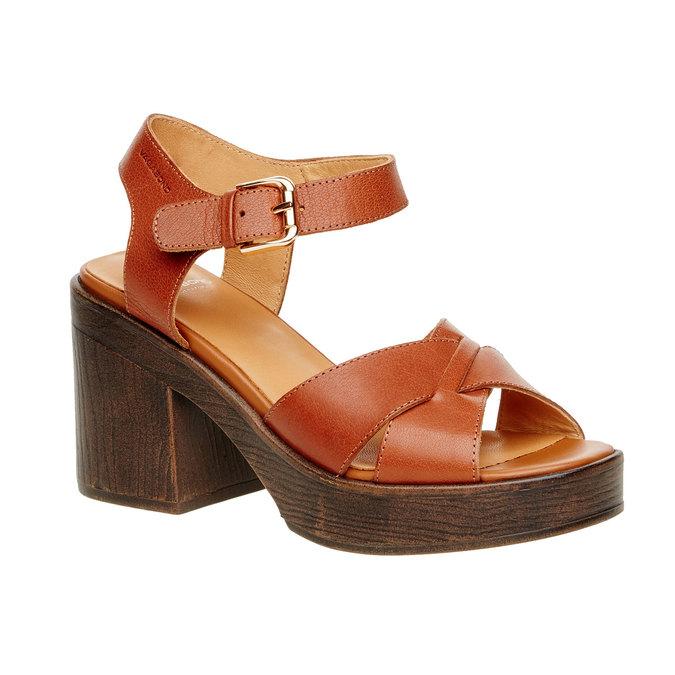 Kožené sandály na masivním podpatku vagabond, hnědá, 764-3003 - 13