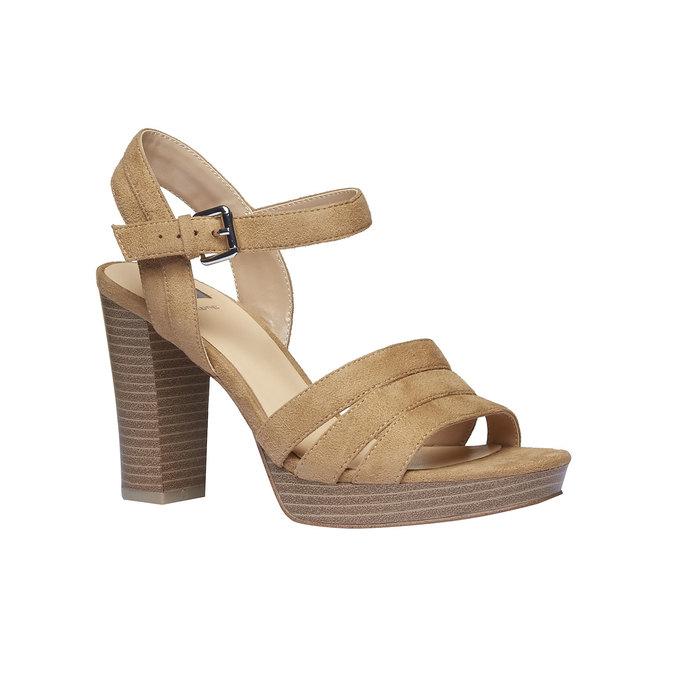 Dámské sandály na masivním podpatku bata, hnědá, 769-8484 - 13