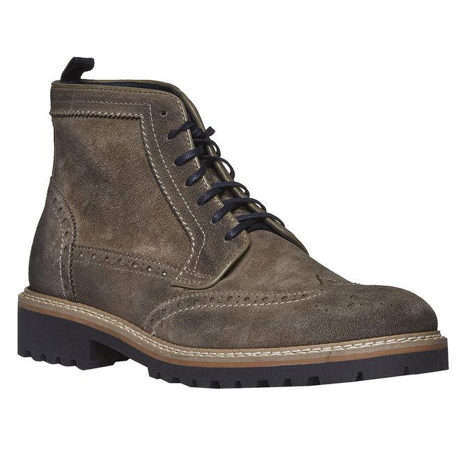 Semišová kotníčková obuv bata, hnědá, 893-2372 - 13