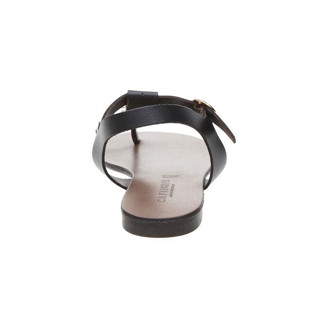 Dámské kožené sandály s T-páskem cafe-noir, černá, 564-6040 - 17