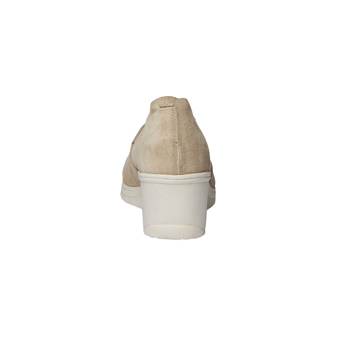 Kožené lodičky na klínovém podpatku bata-touch-me, béžová, 613-8110 - 17