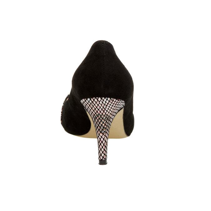Kožené lodičky s aplikací bata, černá, 723-6104 - 17