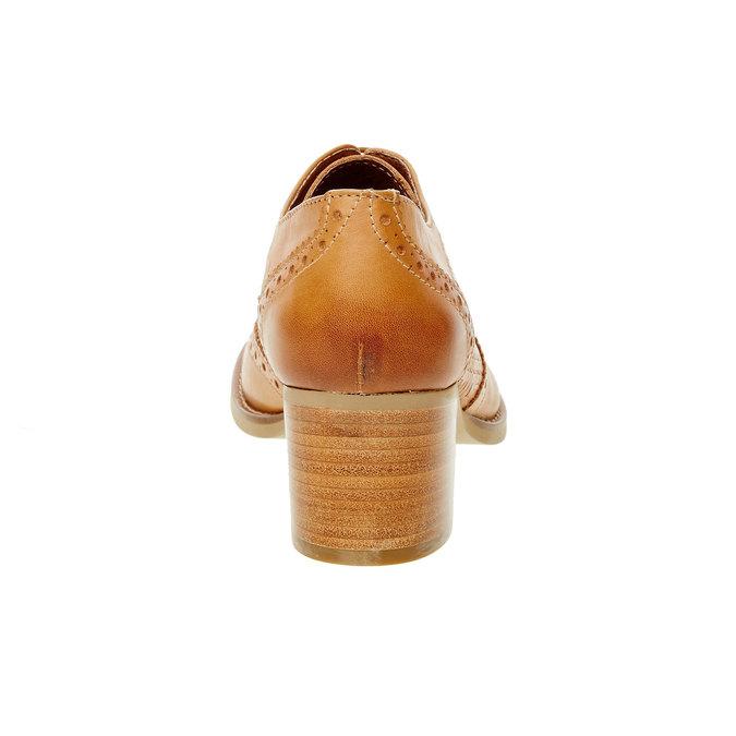 Kožené polobotky na podpatku bata, hnědá, 624-3386 - 17