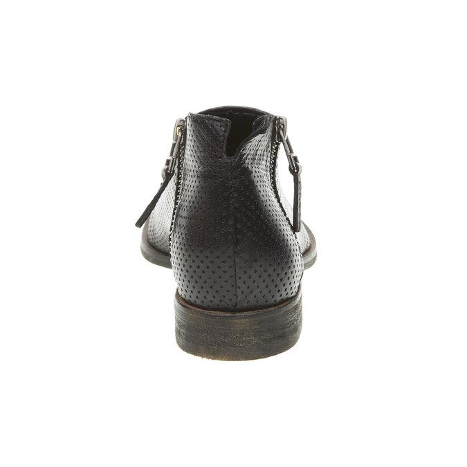 Kožené kotníčkové kozačky s perforací bata, černá, 594-6400 - 17