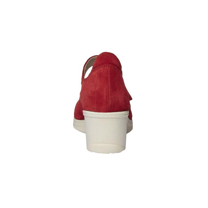 Kožené lodičky na klínovém podpatku bata-touch-me, červená, 623-5392 - 17