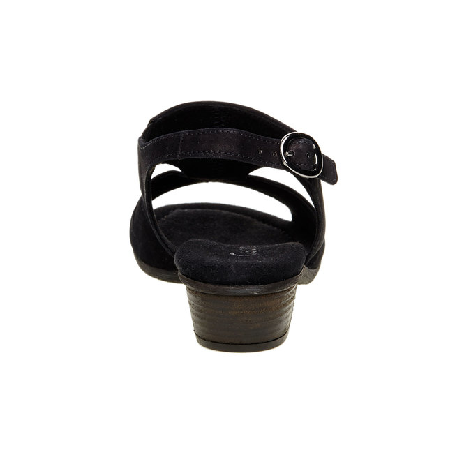 Kožené sandály na nízkém podpatku gabor, černá, 666-6100 - 17