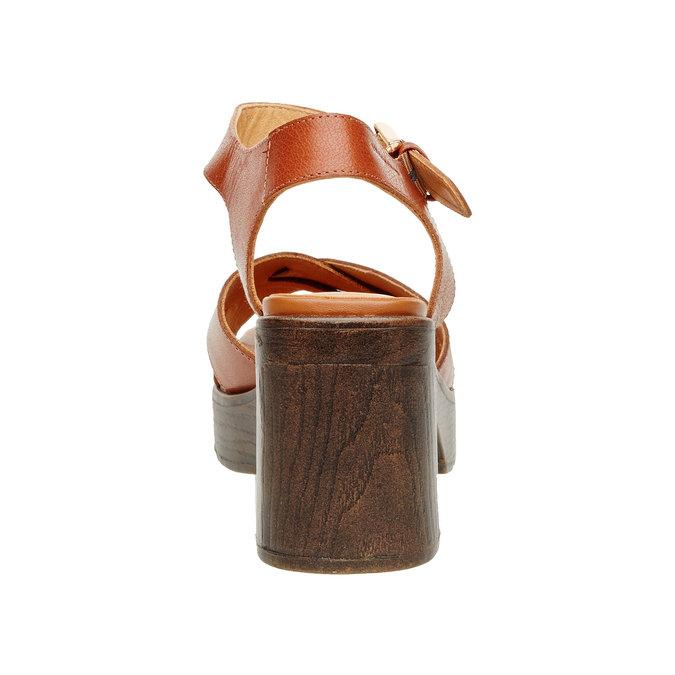 Kožené sandály na masivním podpatku vagabond, hnědá, 764-3003 - 17