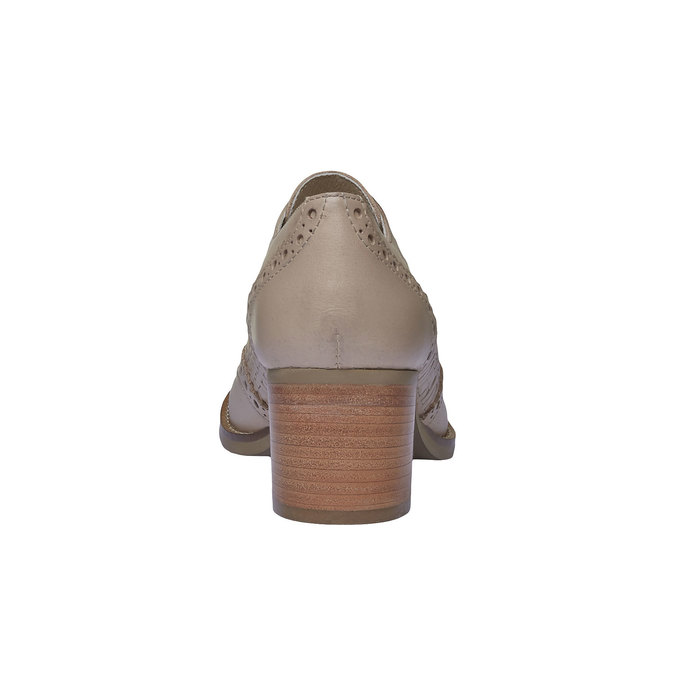Kožené polobotky na podpatku bata, béžová, 624-8386 - 17
