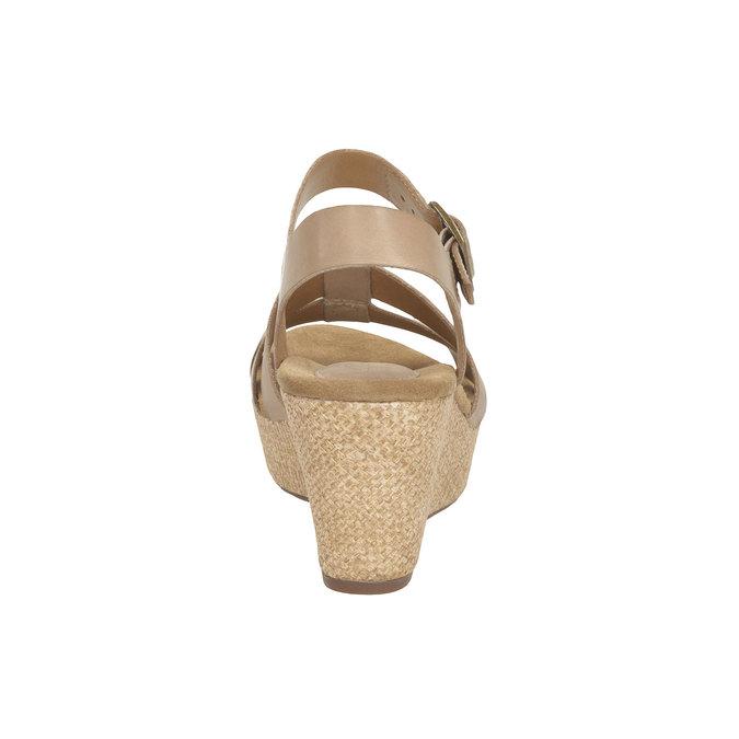 Kožené sandály na platformě clarks, béžová, 764-8002 - 17