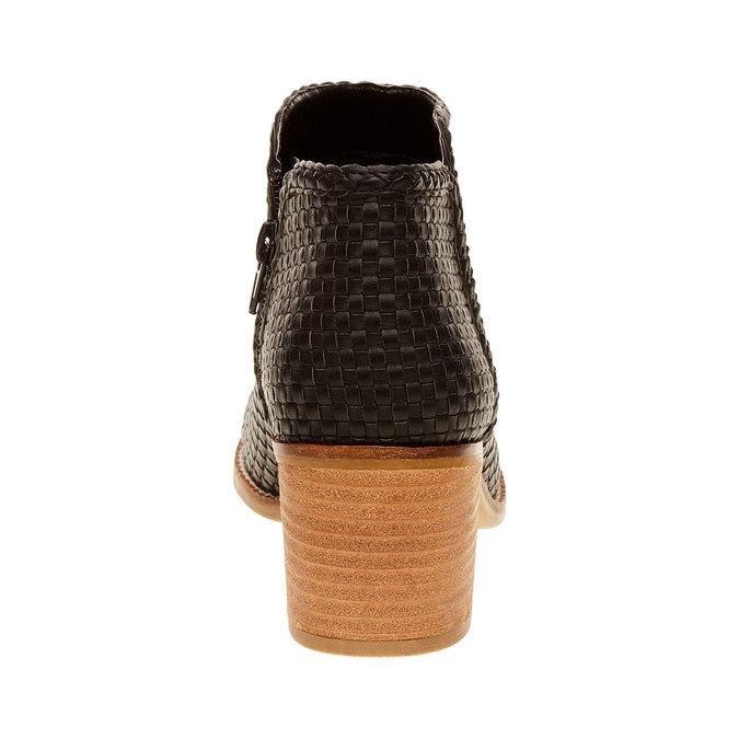 Kotníčkové kozačky s pleteným vzorem bata, černá, 691-6273 - 17