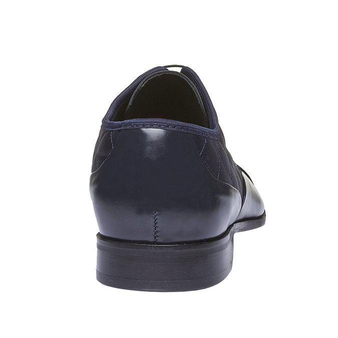 Kožené polobotky s prošitím bata, modrá, 824-9120 - 17
