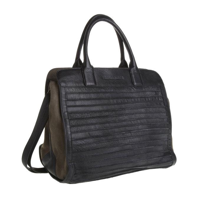 Dámská kožená kabelka fredsbruder, černá, 964-6088 - 13