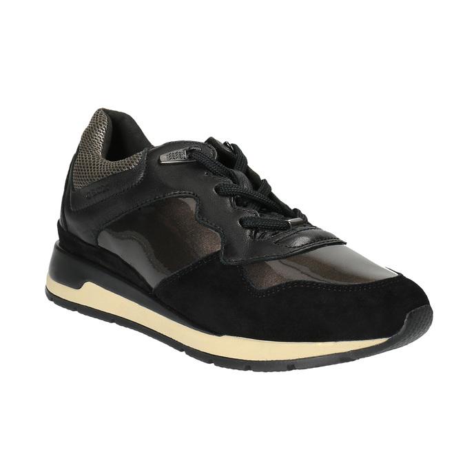 Černé kožené tenisky dámské geox, černá, 626-6030 - 13