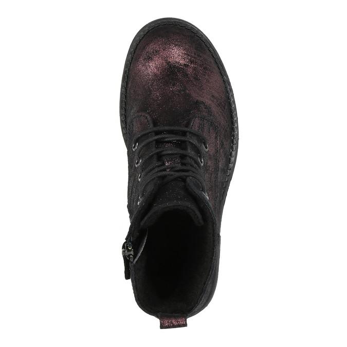 Kožená dětská šněrovací obuv richter, černá, fialová, 396-5012 - 19