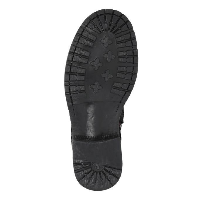 Kožená dětská šněrovací obuv richter, černá, fialová, 396-5012 - 26