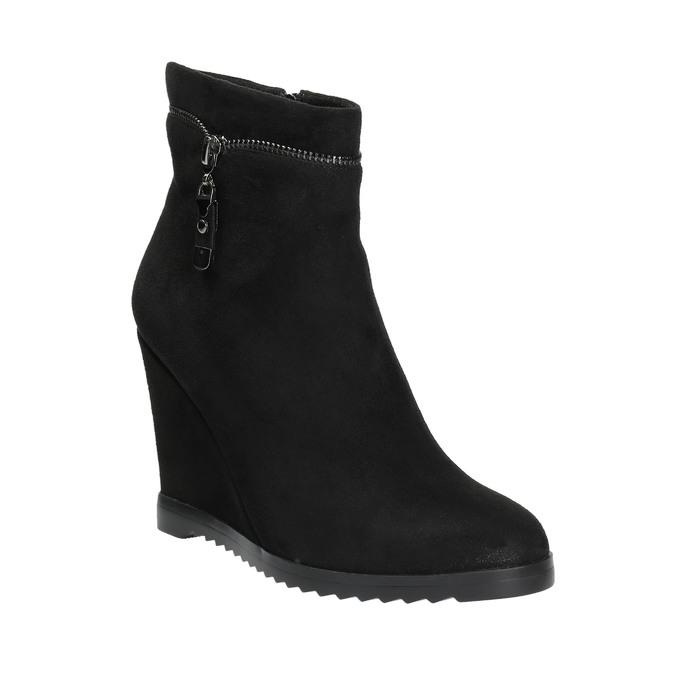 Dámská kotníčková obuv na klínovém podpatku bata, černá, 799-6631 - 13